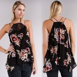 SANDIE Floral print Top - BLACK